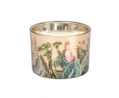 Vela perfumada en tarro de cristal con motivo decorativo de selva rosa y verde