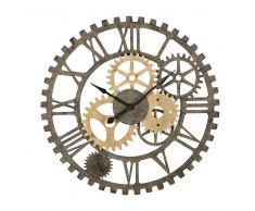 Reloj con engranajes de abeto y metal negro D.100
