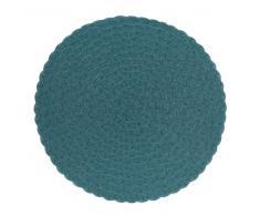 Mantel individual redondo trenzado en azul