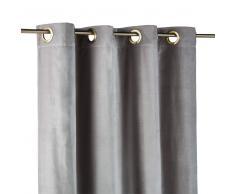 Cortina de ojales de terciopelo gris 140x300 - la unidad