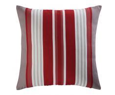 Cojín de jardín de tela a rayas rojas y blancas 45x45 ESPELETTE