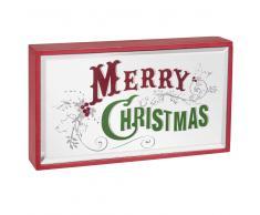 Espejo luminoso navideño con estampado rojo y verde 21x12