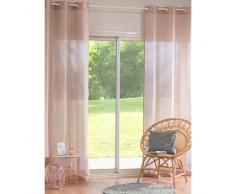Cortina de ojales de algodón y lino rosa 140x250 - la unidad