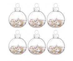 Bolas de Navidad de cristal y confeti de estrellas (x6)