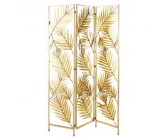 Biombo con hojas de metal dorado