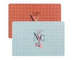 Manteles individuales azul y rosa con motivos de cuadros estampados (x2)