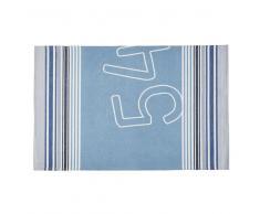 Alfombra de exterior con motivos decorativos azules y beige 160x230