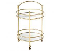 Mesa auxiliar con ruedas de cristal y metal dorado