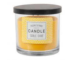 Vela perfumada en tarro de cristal amarillo