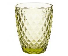 Vaso de cristal verde con motivos en relieve