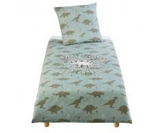 Juego de cama infantil de algodón verde caqui con estampado 140x200
