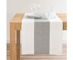 Camino de mesa de algodón blanco y gris L 150