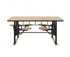 Mesa de comedor de mango y fundición para 8 personas con taburetes L.180 Factory