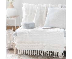 Manta de franjas de algodón blanco 160x210