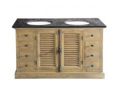 Mueble de doble lavabo de pino reciclado y piedra azul antracita Persiennes