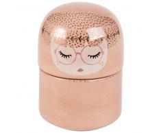 Joyero con forma de muñeca de cerámica rosa