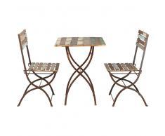 Mesa + 2 sillas de jardín de madera reciclada y metal con efecto envejecido L. 60 cm Collioure