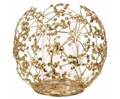 Candelabro de metal dorado y cristal