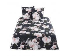 Juego de cama de algodón negro con motivos florales 220x240