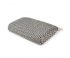 Manta de algodón blanco y negro con motivos gráficos 130x160