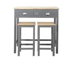Mesa alta con 2 taburetes en roble y pino gris Chablis