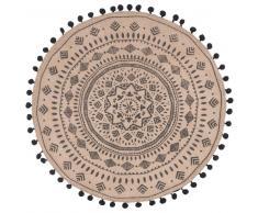 Mantel individual redondo de yute con estampado de mandala