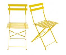 2 sillas plegables de jardín de metal amarillas Guinguette