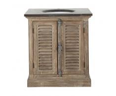 Mueble de lavabo de pino reciclado y piedra azul antracita Persiennes