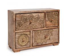 Caja con 4 cajones de madera de mango con motivos dorados Alt. 21