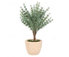 Planta artificial y maceta de cemento
