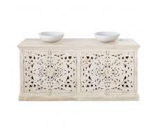 Mueble de lavabo doble de mango macizo tallado blanco con efecto envejecido Kerala