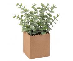 Planta artificial de eucalipto y tarro de papel de estraza