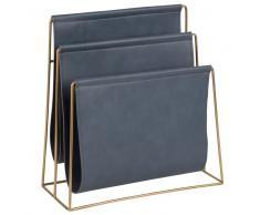 Revistero azul grisáceo y de metal dorado