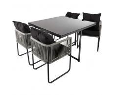 Mesa de jardín + 4 sillas de resina L. 107cm Swann