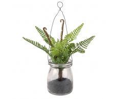 Planta artificial de helecho y tarro de cristal para colgar