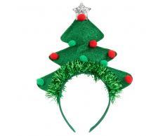 Diadema en forma de árbol y bolas de Navidad verde y roja