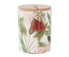 Vela perfumada en tarro de cerámica con estampado tropical y metal