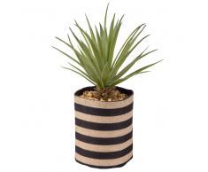 Planta suculenta artificial y maceta de yute con motivos decorativos de rayas