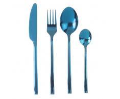 Juego de 24 cubiertos de metal azul turquesa