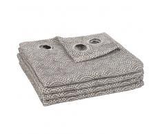 Cortina de ojales gris con motivos gráficos 140x250 - la unidad