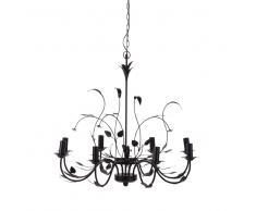 Lámpara de araña con motivos vegetales de metal negro