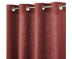 Cortina de ojales de lino rojo carmín 130x300 - la unidad