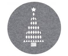 Mantel individual redondo gris con estampado de árbol de Navidad