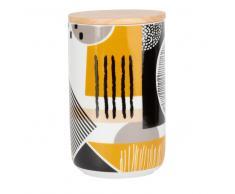 Tarro de loza con motivos gráficos y tapa de bambú