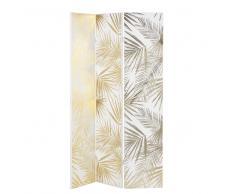 Biombo con impresión de motivos vegetales en blanco y dorado