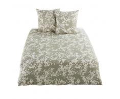 Juego de cama de algodón verde caqui con motivos florales en beige 220x240