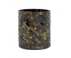 Portavelas de mosaico en tarro de cristal y cemento multicolor