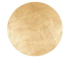 Mantel individual redondo dorado con estampado de hojas