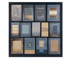 Lienzo azul, beige y negro 75x75
