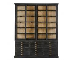 Vitrina con 4 puertas y 12 cajones de pino reciclado negro Moliere